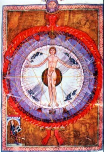 """Universal Man"" illumination from Hildegard's Liber Divinorum Operum, 1165"