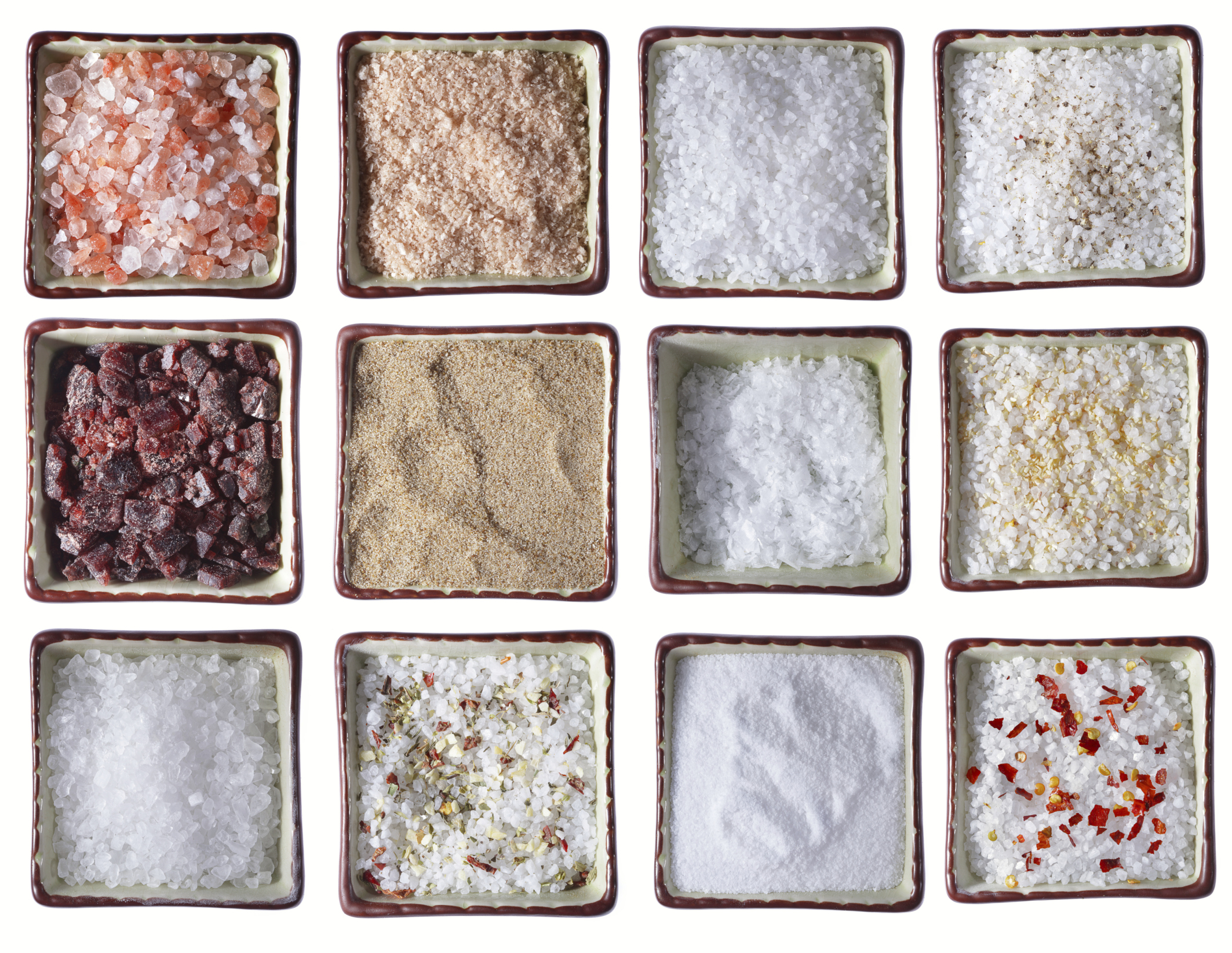 twelve types of Sea SALT in square bowls